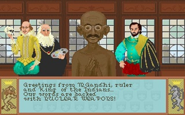 """Nuclear Gandhi"" a glitch in Civilization II made India's A.I. particularly aggressive."