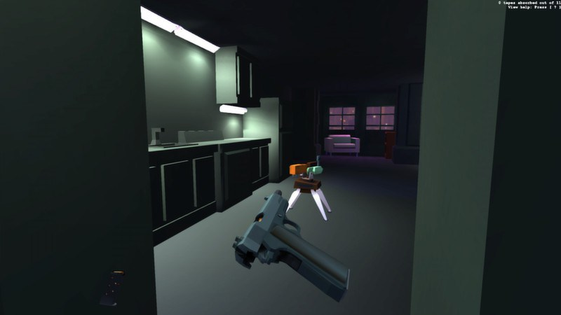The player looks into a room while pulling back his gun's slide. They have about 2.5 seconds to either hide or eliminate the turret before it kills them.