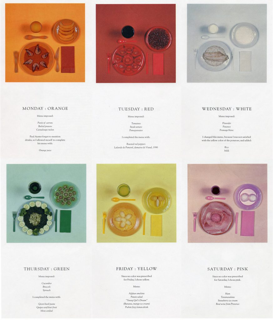 Sophie Calle's 'The Chromatic Diet', 1998 - based on a novel character based on her
