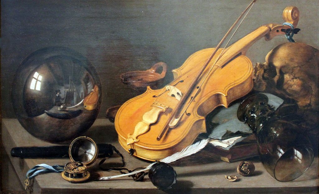 Vanitas still-life with self-portrait. Pieter Claesz 1628